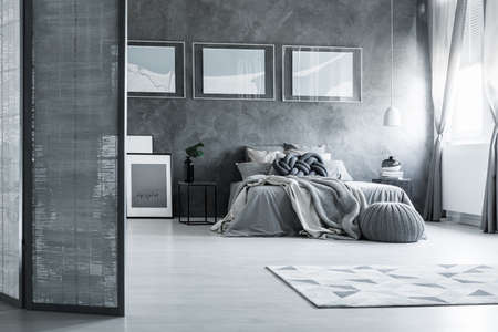 Contrast posters on textured wall in grey bedroom with screen and king-size bed near window 版權商用圖片