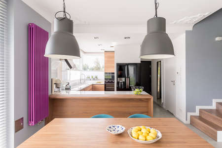 Fully-equipped modern kitchen interior with an oven, large, black refrigerator, and a long, purple radiator Stock Photo