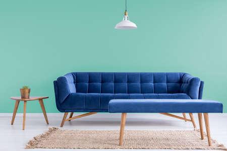 Marineblauwe comfortabele bank en lijst met cactus in groene wachtkamer Stockfoto