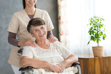 Smiling caregiver behind happy senior woman in wheelchair during meeting in common room Reklamní fotografie