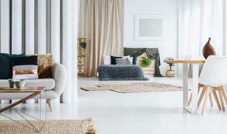 Patterned Pillow On Grey Sofa In Multifunctional Living Room With King Size  Bed And Dining
