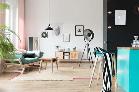 Pastel open space interior in stylish loft