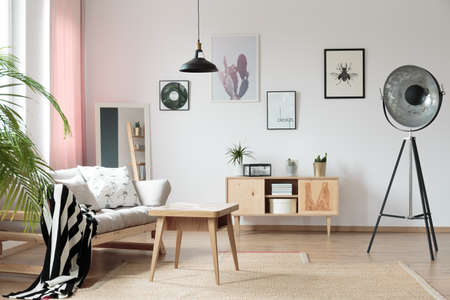 Light, delicate living room interior in modern flat