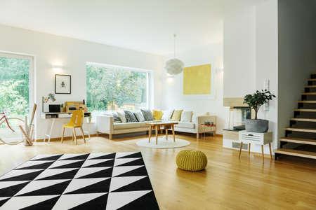 Tapijt in contrasterende kleuren in ruime woonkamer met plantenkast en gele accenten