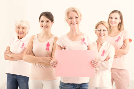Copy space of five multigenerational women fighting against breast cancer, reminding to get a mammogram