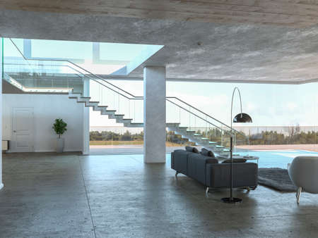 3D rendering of modern concrete interior with large staircase, gray corner sofa and metal lamp