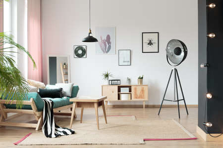 Pastel living room interior with stylish, wooden furniture 写真素材