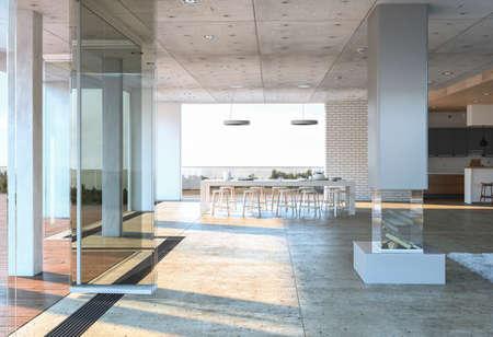 Glasingang aan een modern concreet huis met witte eettafel en stoelen tegen bakstenen muur. 3D-rendering. Stockfoto