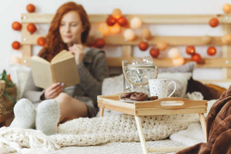 Wooden breakfast tray with gingerbread and a cup of tea with a woman in the background Imagens