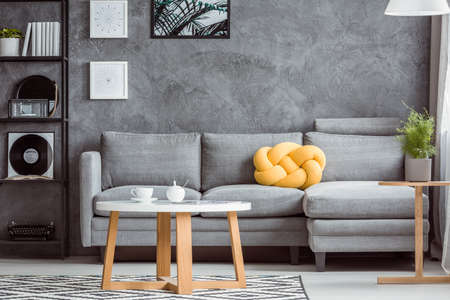 Close-up photo, contemporary design of cozy gray living room interior with simple sofa and yellow accent
