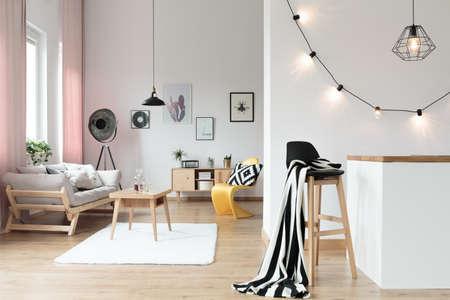 Warmer und komfortabler Loft mit Wohnzimmer und Küche Standard-Bild - 91210669
