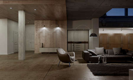 Ruime woonkamer met lederen fauteuil, grijze bank en donzig tapijt. 3D-rendering. Stockfoto