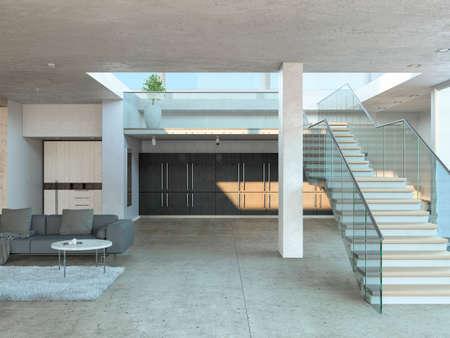 Breite Treppe zum ersten Stock eines modernen Hauses mit Betonbalken und grauer Couch. 3D-Rendering.