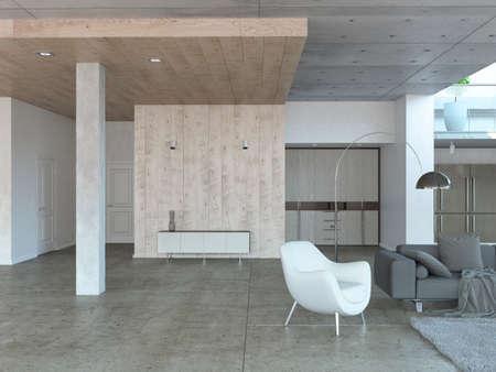 Wiedergabe 3D des modernen Wohnzimmerinnenraums mit weißem Lehnsessel, grauem Sofa und hölzerner Garderobe Standard-Bild - 89518572