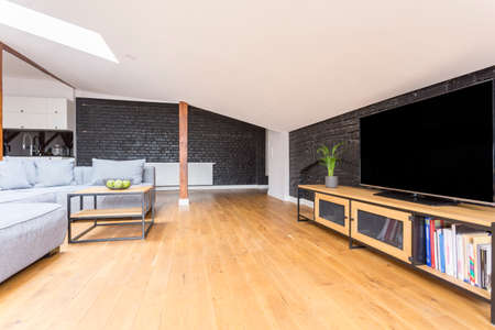 Open space with grey couch set in front of table and television on wooden cupboard
