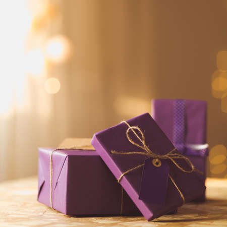 Stack of presents for Christmas or birthday Stockfoto