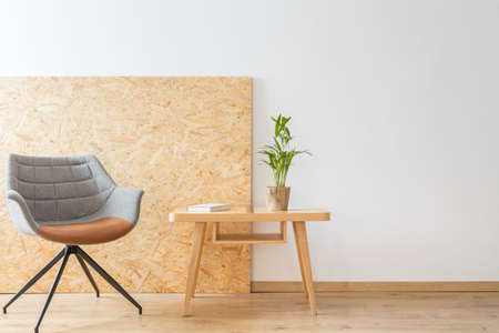 Designer chair next to a wooden table with plant and book against the wall with copy space