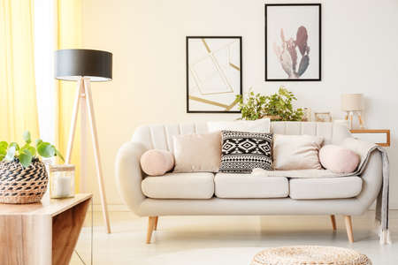 Patterned pillow on a beige couch next to lamp and plant on a cabinet in simple living room with posters on the wall