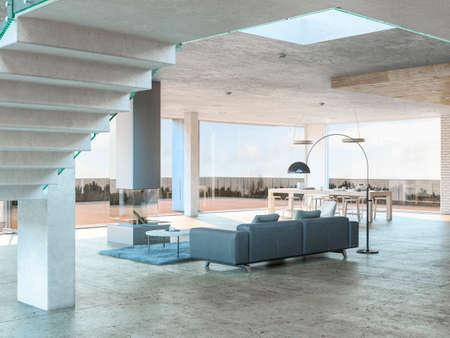 Grote grijze bank met uitzicht op ruim houten terras in helder wit en grijs huisbinnenland. 3D-rendering.