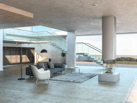 Monochromatic living room interior with gray rug, white armchair and stairs leading up to the first floor. 3D rendering.