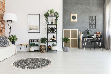 Round patterned carpet in spacious living room with plants, poster and work area against grey wall 写真素材
