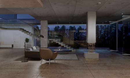 Donkere woonkamer interieur met glazen toegangsdeur en grote ramen met uitzicht op de tuin. 3D-weergave