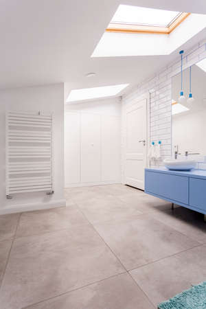 白い壁と青い洗面台ミラー キャビネットの上の電球加熱器で広々 としたトイレ