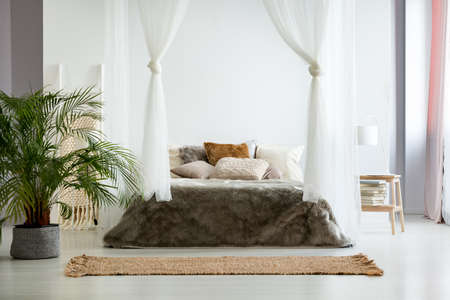 White walls and fur bedding in cozy warm bedroom with bohemian design, plants and earth color scheme