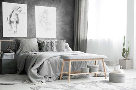 Wooden bench and cactus in bright grey bedroom with bed against textured wall with drawings