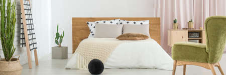 Black ball and green chair in bright bedroom interior with king-size bed and cacti Stock Photo