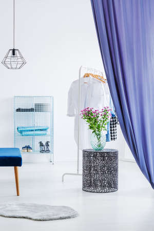Minimalism in white and blue, modern dressing room with bench and shelves