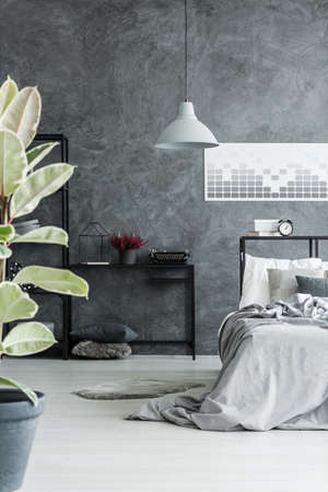 Grey lamp and typewriter on black desk in dark bedroom interior with plant and bed against concrete wall with geometric poster