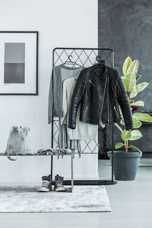 Leather jacket on rack, backpack and shoes in teenagers anteroom interior with plant, grey poster and grey carpet