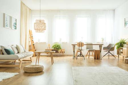 테이블, 의자 및 양치류 밝은 거실 인테리어 베개 베이지 색 소파 옆에 Pouf 스톡 콘텐츠