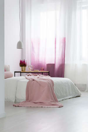 Pink blanket on bed and plant in gold pot in cozy bedroom with gradient curtains and lamp