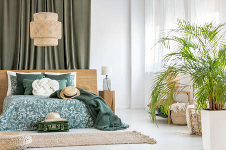 Plant in olive bedroom with rattan lamp above green bedding on king-size bed and green cloth