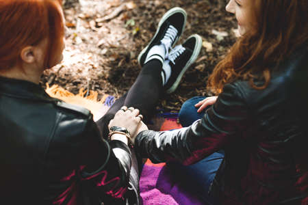 High angle of lesbian girls holding hands, sitting on a blanket in the park Stockfoto