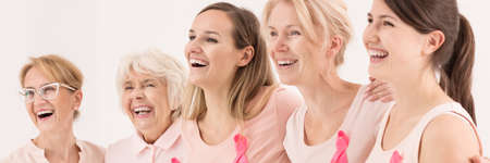 Beautiful women laughing in the photo for breast cancer patients foundation