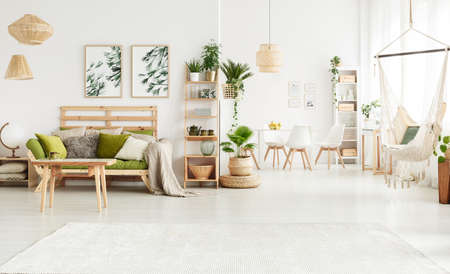 Plant on pouf and leaves posters in bright open space interior with green couch, hammock and white chairs at a table Reklamní fotografie