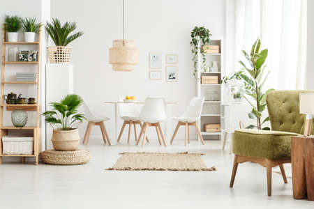 Lamp on wooden stool and green armchair in multifunctional dining room interior with pouf, plants and brown rug Фото со стока