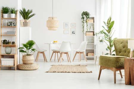 Lampe sur tabouret en bois et fauteuil vert à l'intérieur d'une salle à manger multifonctionnelle avec pouf, plantes et tapis marron Banque d'images - 93295891