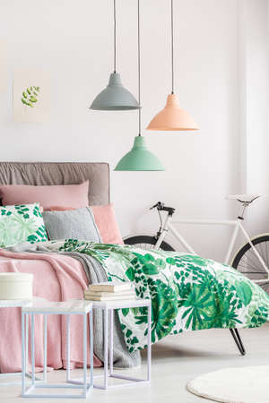 植物をモチーフにしたモダンなベッドルームの自転車とデザイナーベッド 写真素材