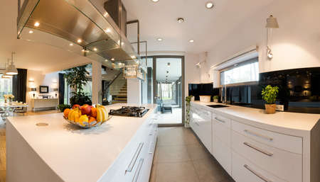 Fashionable style house design with fitted shiny kitchen