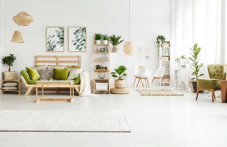 Tapis lumineux, affiches avec feuilles et pouf dans un appartement spacieux et verdoyant avec canapé, plantes et fauteuil Banque d'images