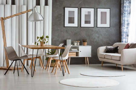 White round carpets in bright living room with cupboard between beige couch and dining table with chairs