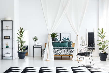Bed with floral bedsheets between nightstand with lamp and clock in white and black bedroom interior with carpet, chair and ficus trees
