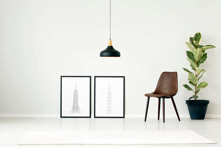 Brown chair between posters and plant against white wall with copy space in simple living room interior with black lamp above rug Stok Fotoğraf