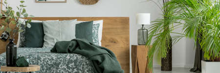 Glass lamp on wooden stool standing in a green bedroom interior with twigs and palm plant