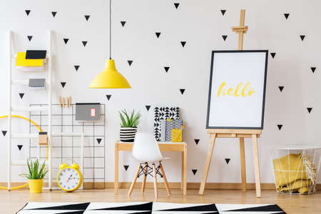 Cute and functional preschool interior with functional workspace for kids
