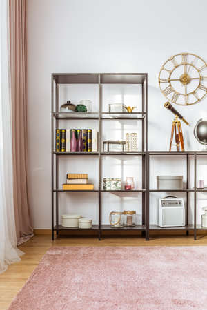 Books, telescope and boxes on shelves in living room interior with pink carpet and gold round clock on the wall Banque d'images